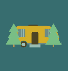 Flat icon trailer in forest vector