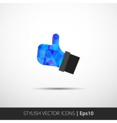 Flat style with long shadows thumbs up vector image vector image