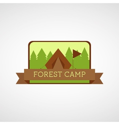 Forest camping logo wilderness adventure badge vector