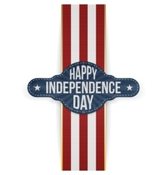Happy independence day banner with ribbon vector