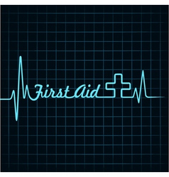 Heartbeat make first aid word and plus symbol vector