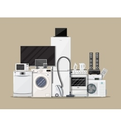 Household appliances and electronic devices vector