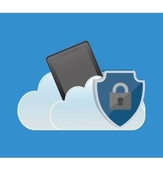 Internet security cellphone cloud padlock vector
