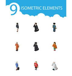 isometric human set of hostess guy detective and vector image vector image