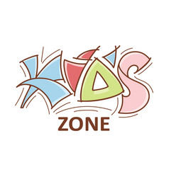 Kid zone logo logotype emblem lettering design vector