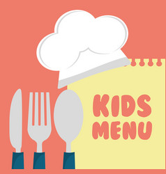 kids menu cuttlery kitchen design vector image vector image