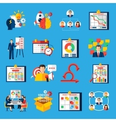 Scrum agile development flat icons set vector
