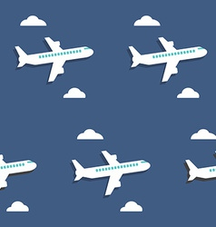 Seamless pattern Airplanes and clouds over blue vector image