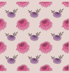 Seamless pattern with pink and purple flowers vector