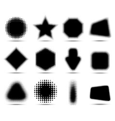 Set of 12 Abstract Halftone Design Elements vector image vector image