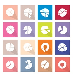Set of 16 pie chart icons banner vector