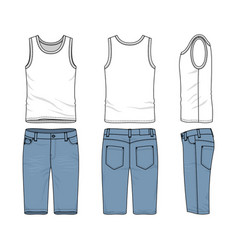 Set of male vest and jeans shorts vector