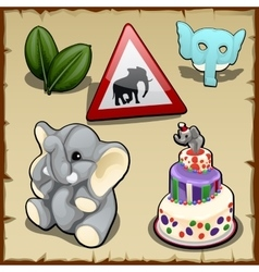 Set on elephantine themes in various types vector