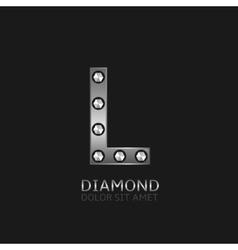 Silver L letter vector image