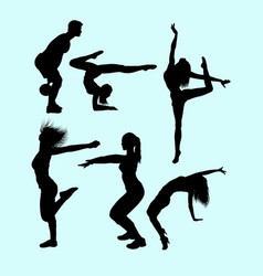 Sport activity attractive male and female action s vector