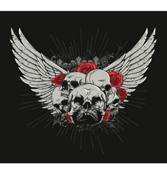 T-shirt design with skulls vector