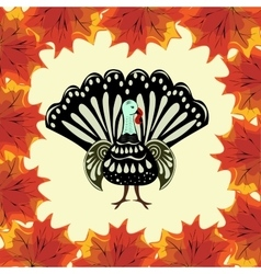 Thanksgiving Turkey background autumn leaves vector image
