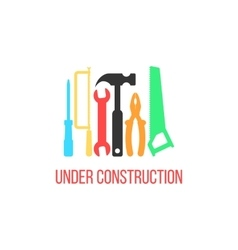 under construction logotype with colored tools vector image