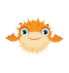 Yellow puffer fish sea tropical aquarium fish vector
