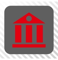 Bank building rounded square button vector