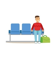Man sitting in waiting area part of airport and vector