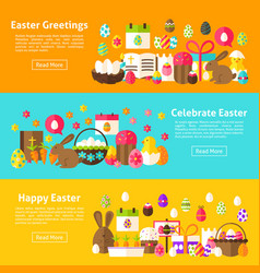 Easter holiday web banners vector