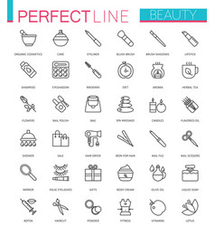 Spa beauty and cosmetic thin line web icons set vector