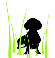 Dog in grass vector