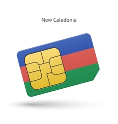 New caledonia mobile phone sim card with flag vector