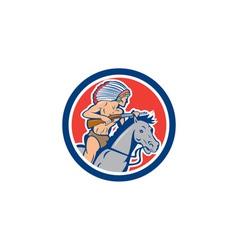 Native American Indian Chief Riding Horse Cartoon vector image
