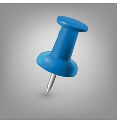 Blue push pin isolated vector