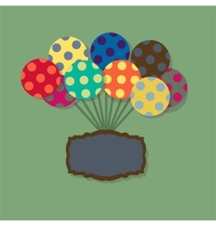 Card with flying balloons in retro style vector