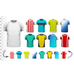 Collection of various soccer jerseys vector image