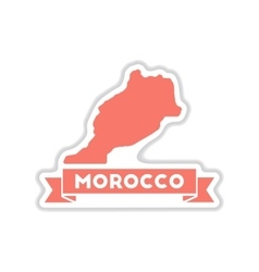 Paper sticker on white background morocco map vector