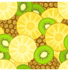 Pineapple and kiwi seamless pattern vector image