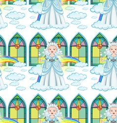 Seamless queen on clouds and rainbow vector