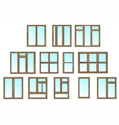 Cottage window set vector