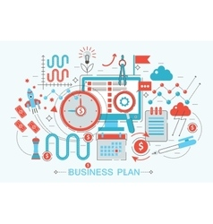 Modern flat thin line design business project plan vector