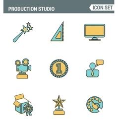 Icons line set premium quality of content vector