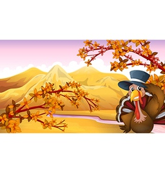 A turkey with a hat in the forest vector image