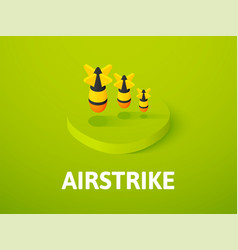 Airstrike isometric icon isolated on color vector