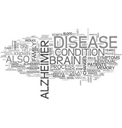 Alzheimers treatment text word cloud concept vector