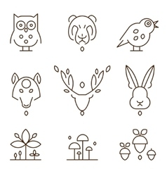 Animal heads and plants icons set linear style vector