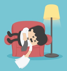 Businessman sleeping on the couch exhausted vector