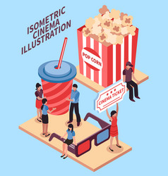 Cinema isometric design concept vector