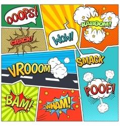 Comics book page bubbles composition print vector