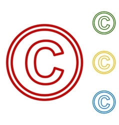 Copyright sign set of line icons vector