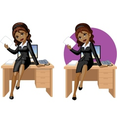 Cute young African American office woman sitting vector image vector image