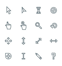 dark color contour various cursors icons set vector image