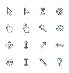 dark color contour various cursors icons set vector image vector image